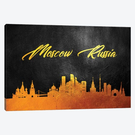 Moscow Russia Gold Skyline Canvas Print #ABV84} by Adrian Baldovino Canvas Art Print