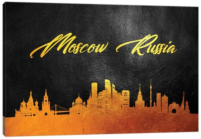 Moscow Russia Gold Skyline Canvas Art Print