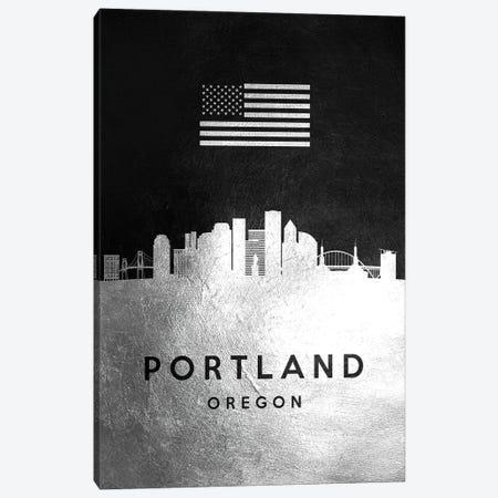 Portland Oregon Silver Skyline Canvas Print #ABV850} by Adrian Baldovino Canvas Artwork