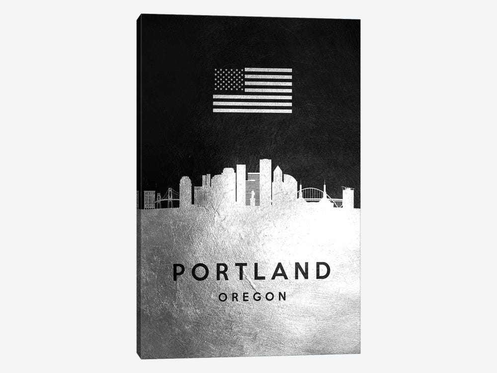 Portland Oregon Silver Skyline by Adrian Baldovino 1-piece Canvas Art