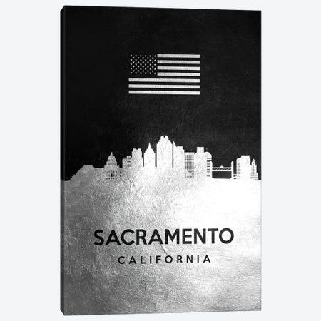 Sacramento California Silver Skyline Canvas Print #ABV857} by Adrian Baldovino Art Print