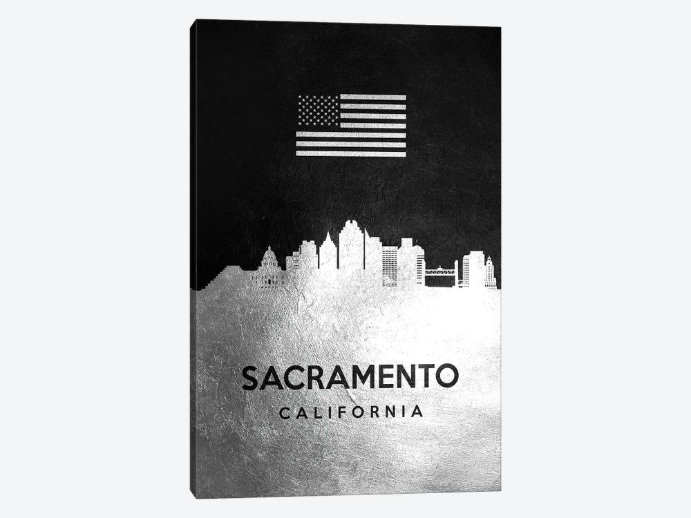 Sacramento California Silver Skyline by Adrian Baldovino 1-piece Canvas Art Print