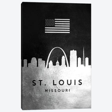 Saint Louis Missouri Silver Skyline Canvas Print #ABV859} by Adrian Baldovino Canvas Art