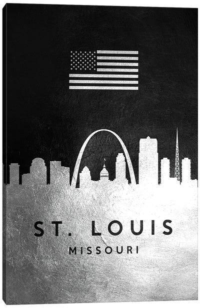 Saint Louis Missouri Silver Skyline Canvas Art Print