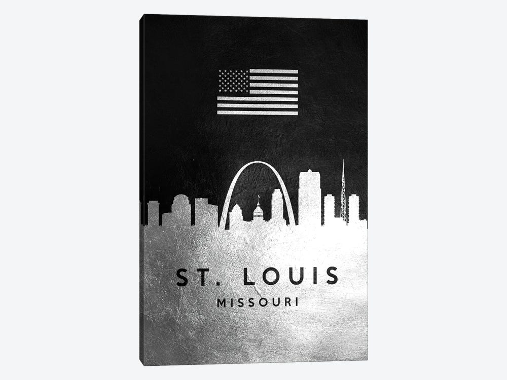 Saint Louis Missouri Silver Skyline by Adrian Baldovino 1-piece Art Print