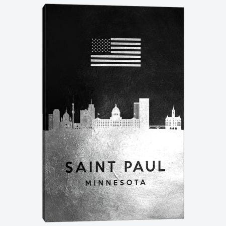 Saint Paul Minnesota Silver Skyline Canvas Print #ABV861} by Adrian Baldovino Canvas Art Print