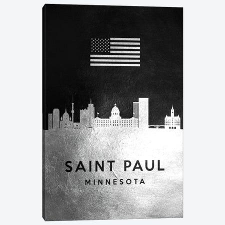 Saint Paul Minnesota Silver Skyline Canvas Print #ABV861} by Adrian Baldovino Canvas Art Print