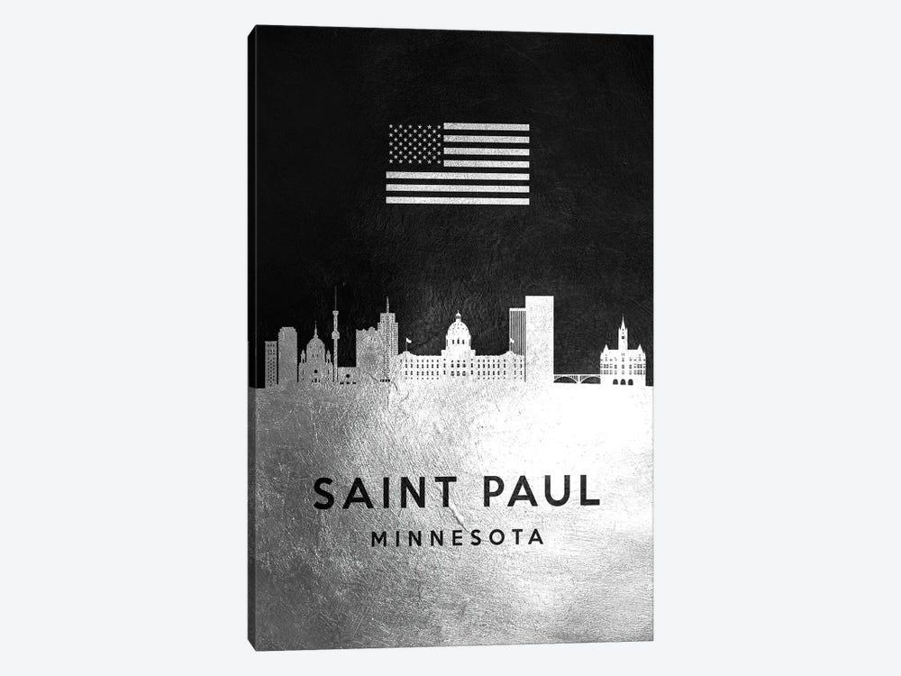 Saint Paul Minnesota Silver Skyline by Adrian Baldovino 1-piece Canvas Art