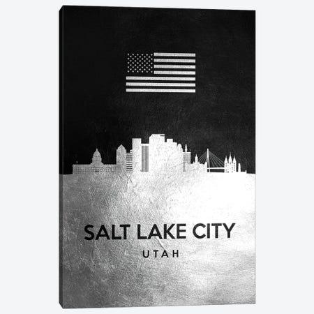 Salt Lake City Utah Silver Skyline Canvas Print #ABV862} by Adrian Baldovino Art Print