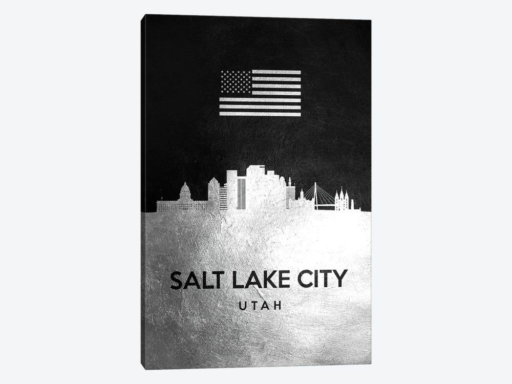 Salt Lake City Utah Silver Skyline by Adrian Baldovino 1-piece Canvas Art Print