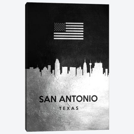 San Antonio Texas Silver Skyline II Canvas Print #ABV865} by Adrian Baldovino Canvas Wall Art