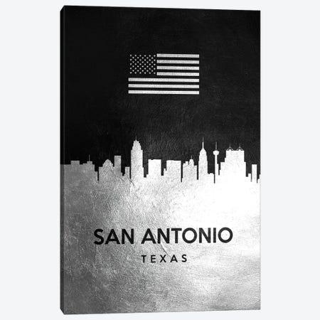 San Antonio Texas Silver Skyline II Canvas Print #ABV865} by Adrian Baldovino Canvas Wall Art
