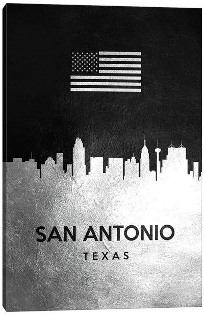 San Antonio Texas Silver Skyline II Canvas Art Print