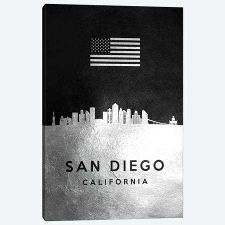 San Diego California Silver Skyline Canvas Print #ABV866} by Adrian Baldovino Canvas Art