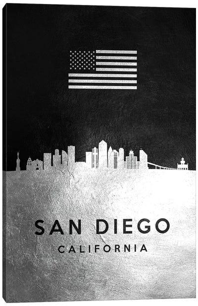 San Diego California Silver Skyline Canvas Art Print