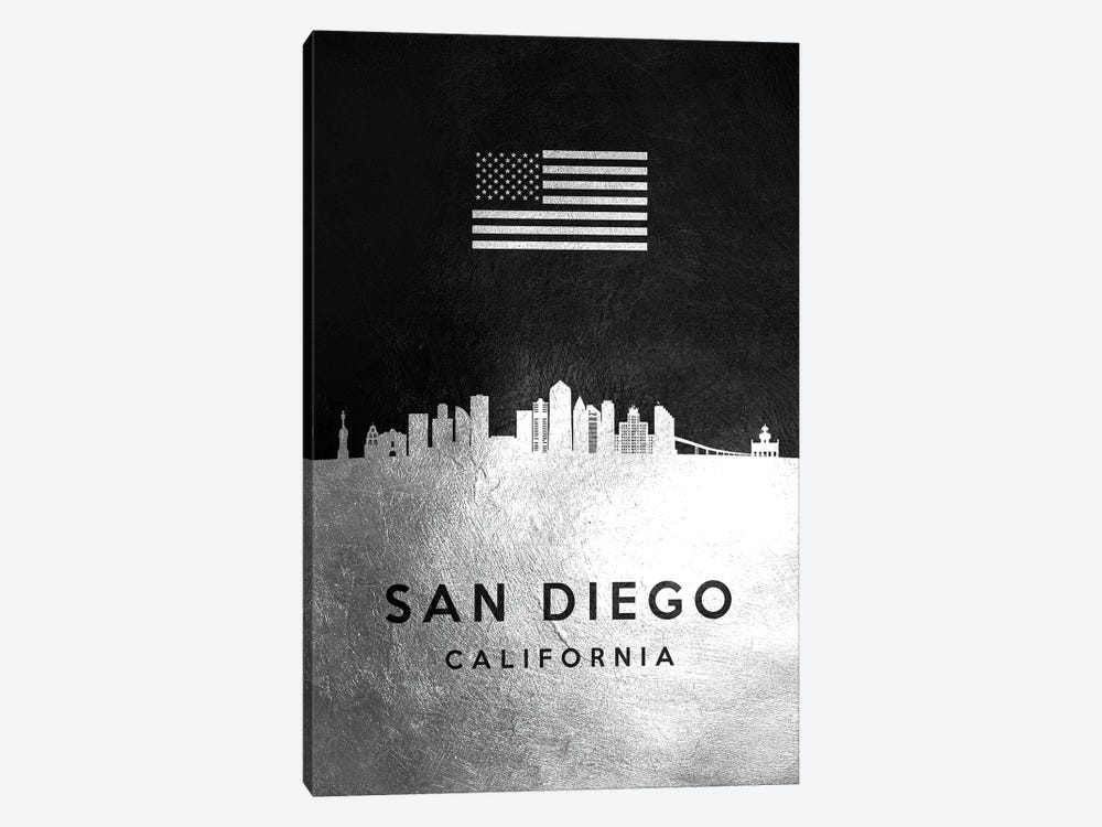 San Diego California Silver Skyline by Adrian Baldovino 1-piece Canvas Art Print