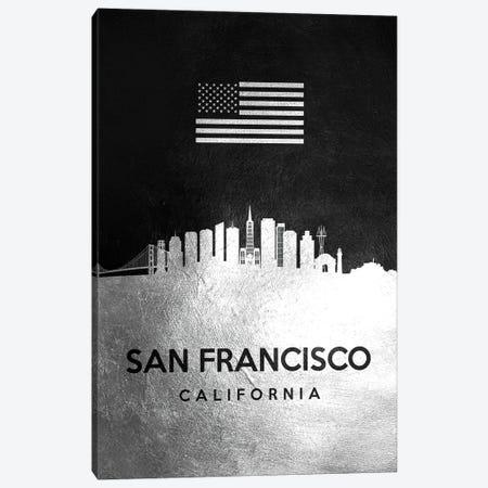 San Francisco California Silver Skyline Canvas Print #ABV868} by Adrian Baldovino Art Print