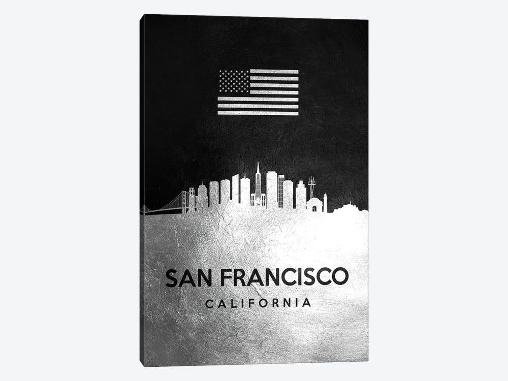 San Francisco California Silver Skyline by Adrian Baldovino 1-piece Art Print