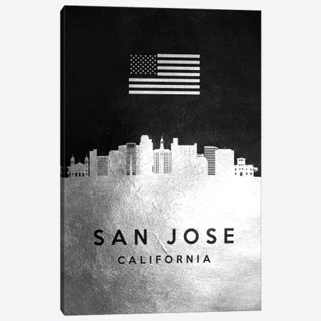 San Jose California Silver Skyline Canvas Print #ABV870} by Adrian Baldovino Canvas Artwork