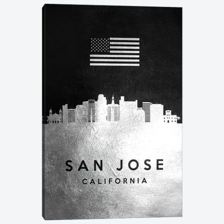 San Jose California Silver Skyline Canvas Print #ABV870} by Adrian Baldovino Canvas Artwork