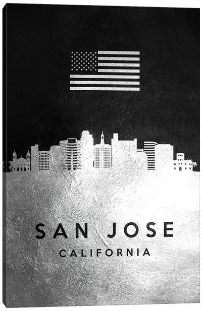 San Jose California Silver Skyline Canvas Art Print