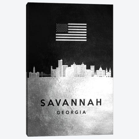 Savannah Georgia Silver Skyline Canvas Print #ABV872} by Adrian Baldovino Canvas Wall Art
