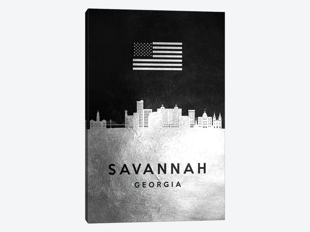 Savannah Georgia Silver Skyline by Adrian Baldovino 1-piece Canvas Artwork
