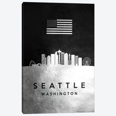 Seattle Washington Silver Skyline Canvas Print #ABV873} by Adrian Baldovino Canvas Art