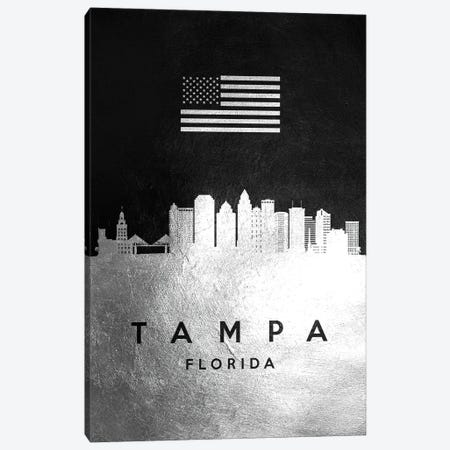 Tampa Florida Silver Skyline Canvas Print #ABV877} by Adrian Baldovino Art Print