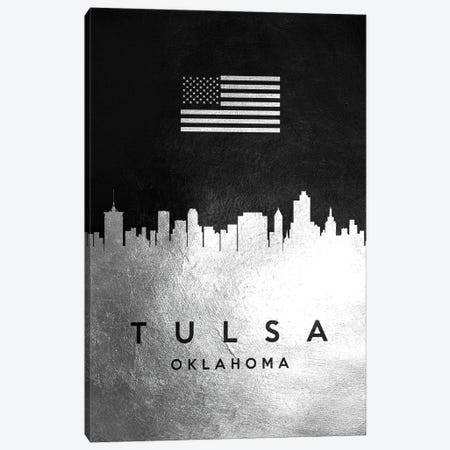 Tulsa Oklahoma Silver Skyline Canvas Print #ABV878} by Adrian Baldovino Canvas Wall Art
