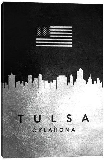 Tulsa Oklahoma Silver Skyline Canvas Art Print