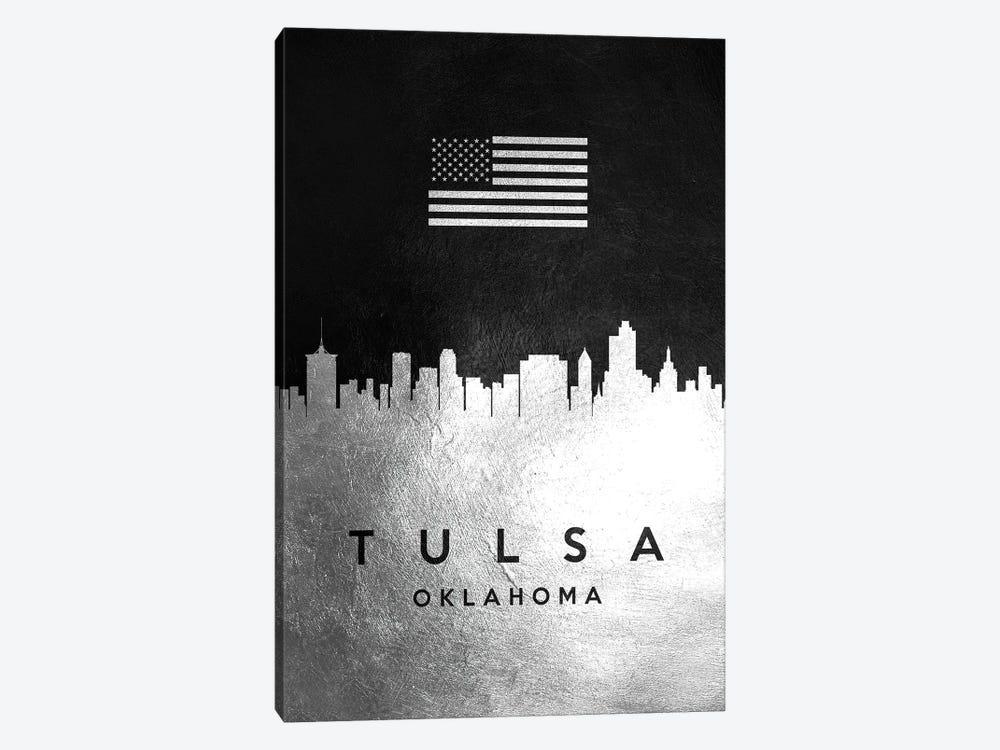 Tulsa Oklahoma Silver Skyline by Adrian Baldovino 1-piece Canvas Artwork