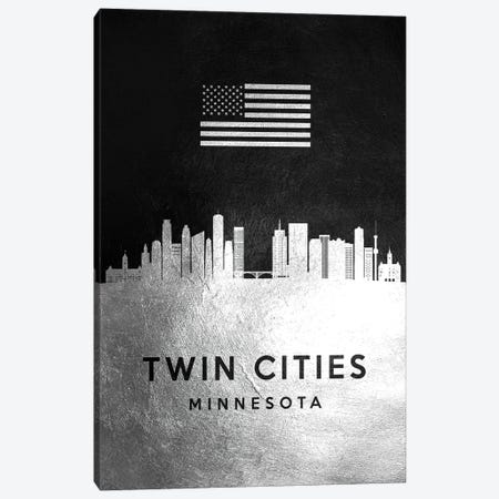 Twin Cities Minnesota Silver Skyline Canvas Print #ABV880} by Adrian Baldovino Canvas Art Print
