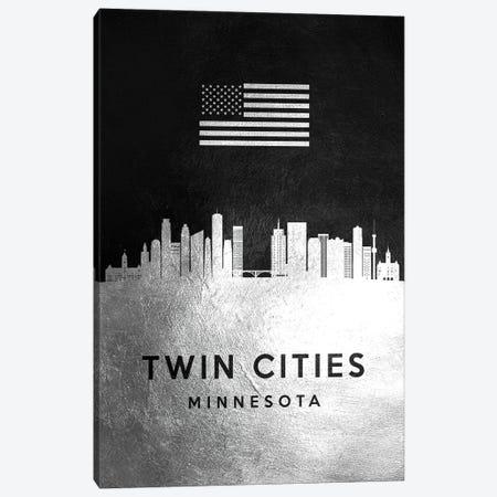 Twin Cities Minnesota Silver Skyline Canvas Print #ABV880} by Adrian Baldovino Canvas Art Print
