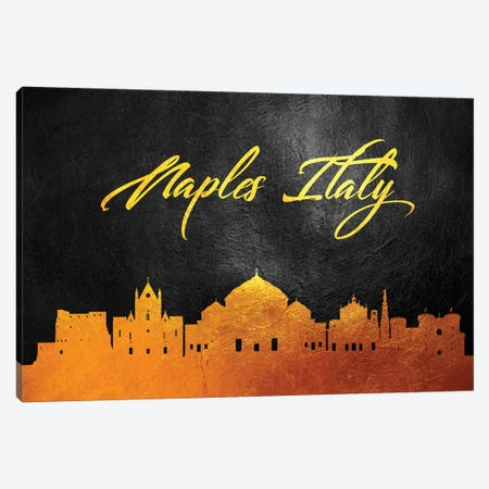 Naples Italy Gold Skyline Canvas Print #ABV88} by Adrian Baldovino Canvas Art