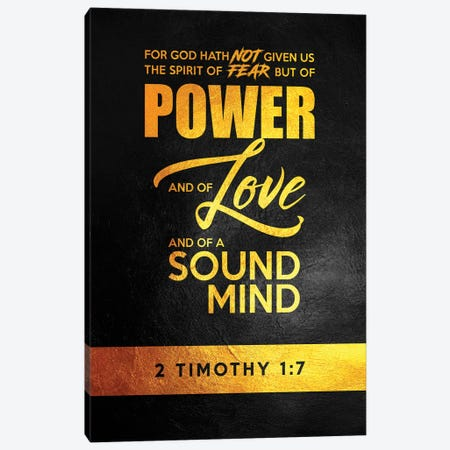 2 Timothy 1:7 Bible Verse Canvas Print #ABV891} by Adrian Baldovino Canvas Artwork