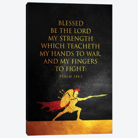 Psalm 144:1 Bible Verse Canvas Print #ABV893} by Adrian Baldovino Canvas Art