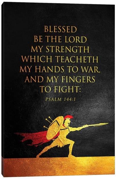 Psalm 144:1 Bible Verse Canvas Art Print