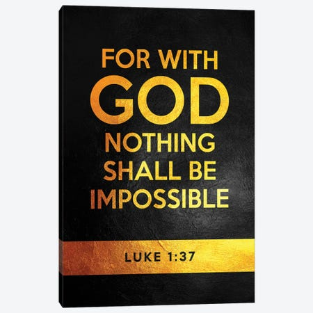 Luke 1:37 Bible Verse Canvas Print #ABV898} by Adrian Baldovino Canvas Wall Art