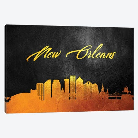 New Orleans Louisiana Gold Skyline Canvas Print #ABV89} by Adrian Baldovino Canvas Artwork
