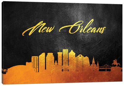 New Orleans Louisiana Gold Skyline Canvas Art Print