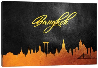 Bangkok Thailand Gold Skyline Canvas Art Print