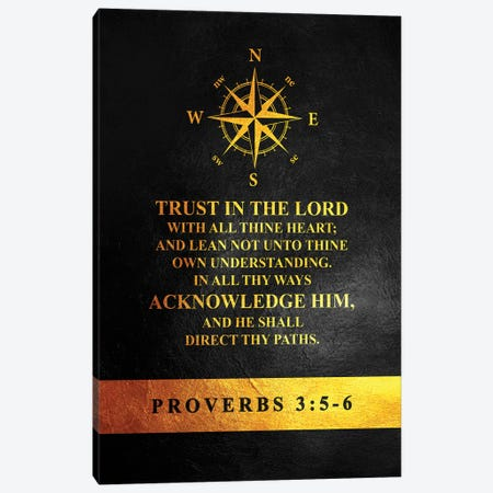 Proverbs 3:5-6 Bible Verse Canvas Print #ABV901} by Adrian Baldovino Canvas Artwork