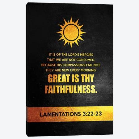 Lamentations 3:22-23 Bible Verse Canvas Print #ABV902} by Adrian Baldovino Canvas Wall Art