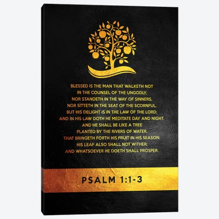 Psalm 1:1-3 Bible Verse Canvas Print #ABV903} by Adrian Baldovino Canvas Artwork