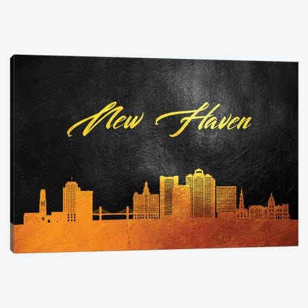New Haven Connecticut Gold Skyline Canvas Print #ABV90} by Adrian Baldovino Art Print