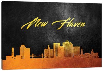New Haven Connecticut Gold Skyline Canvas Art Print