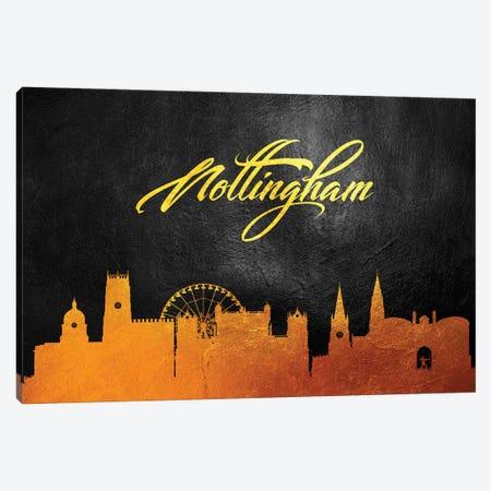 Nottingham England Gold Skyline Canvas Print #ABV94} by Adrian Baldovino Canvas Art