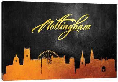 Nottingham England Gold Skyline Canvas Art Print