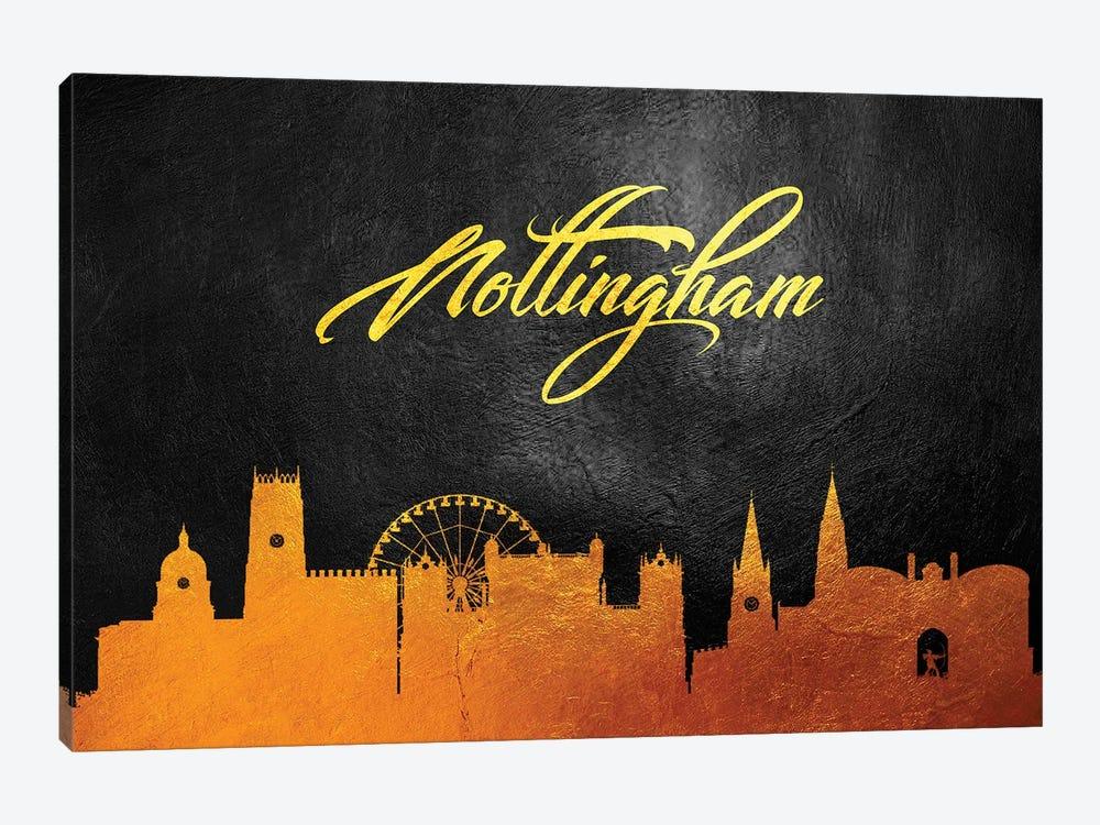 Nottingham England Gold Skyline by Adrian Baldovino 1-piece Canvas Wall Art
